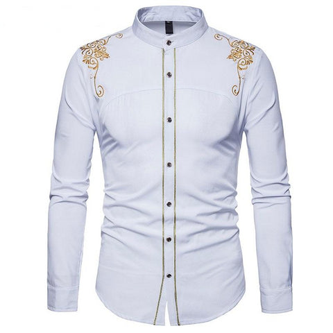 Royal Court Style Floral Embroidered Solid Dress Shirt
