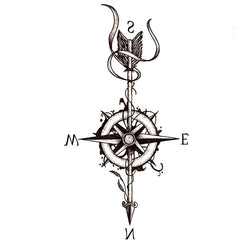 Compass and Arrow Waterproof Temporary Tattoo - Go Steampunk