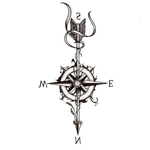 Compass And Arrow Waterproof Temporary Tattoo Go Steampunk