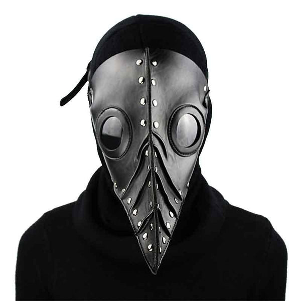 Black Vegan Leather Plague Doctor Mask - Go Steampunk