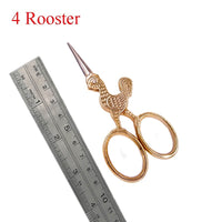 Antique Style Animal Embroidery Thread Scissors Rooster - Go Steampunk