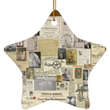 Antique Ads Christmas Star Ornament SUBORNS Ceramic Star Ornament / Brown / One Size - Go Steampunk
