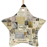 Antique Ads Christmas Star Ornament SUBORNS Ceramic Star Ornament / Black / One Size - Go Steampunk