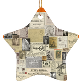 Antique Ads Christmas Star Ornament SUBORNS Ceramic Star Ornament / Burnt Orange / One Size - Go Steampunk