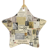 Antique Ads Christmas Star Ornament SUBORNS Ceramic Star Ornament / Tan / One Size - Go Steampunk