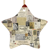 Antique Ads Christmas Star Ornament SUBORNS Ceramic Star Ornament / Maroon / One Size - Go Steampunk