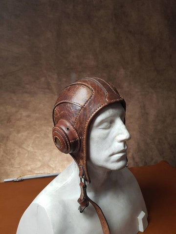 Leather Aviator Pilot Cap