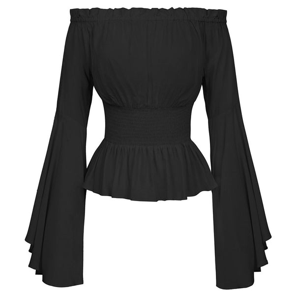 Off Shoulder Flare Sleeve Corset Blouse Black / S - Go Steampunk