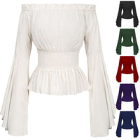 Off Shoulder Flare Sleeve Corset Blouse - Go Steampunk