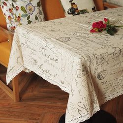 Vintage Style Writing Rectangular Table Cloth