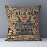 Vintage Steampunk Printed Decorative Pillow Covers J6 10 - Go Steampunk