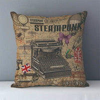 Vintage Steampunk Printed Decorative Pillow Covers J6 9 - Go Steampunk