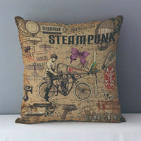 Vintage Steampunk Printed Decorative Pillow Covers J6 8 - Go Steampunk