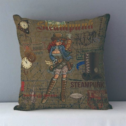 Vintage Steampunk Printed Decorative Pillow Covers J6 1 - Go Steampunk
