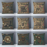 Vintage Steampunk Printed Decorative Pillow Covers