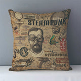 Vintage Steampunk Printed Decorative Pillow Covers J6 6 - Go Steampunk