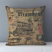 Vintage Steampunk Printed Decorative Pillow Covers J6 7 - Go Steampunk