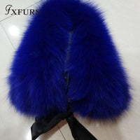 Real Raccoon Fur Collar with Ribbon navy blue - Go Steampunk