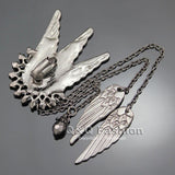 Tall Wing Long Chain Tassel Ear Cuff Earrings - Go Steampunk