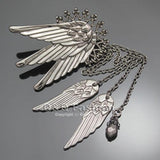 Tall Wing Long Chain Tassel Ear Cuff Earrings Right Ear - Go Steampunk