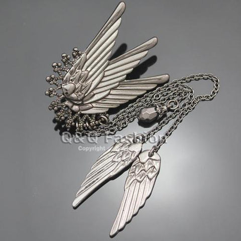 Tall Wing Long Chain Tassel Ear Cuff Earrings Left Ear - Go Steampunk