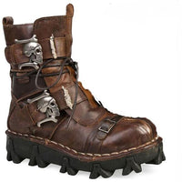 Genuine Leather Steampunk Skull Mid-calf Boots - Go Steampunk