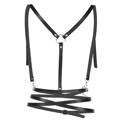 Faux Leather Three Layers Shoulder Wrapped Body Harness