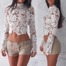 Bell Sleeve Lace Floral Top
