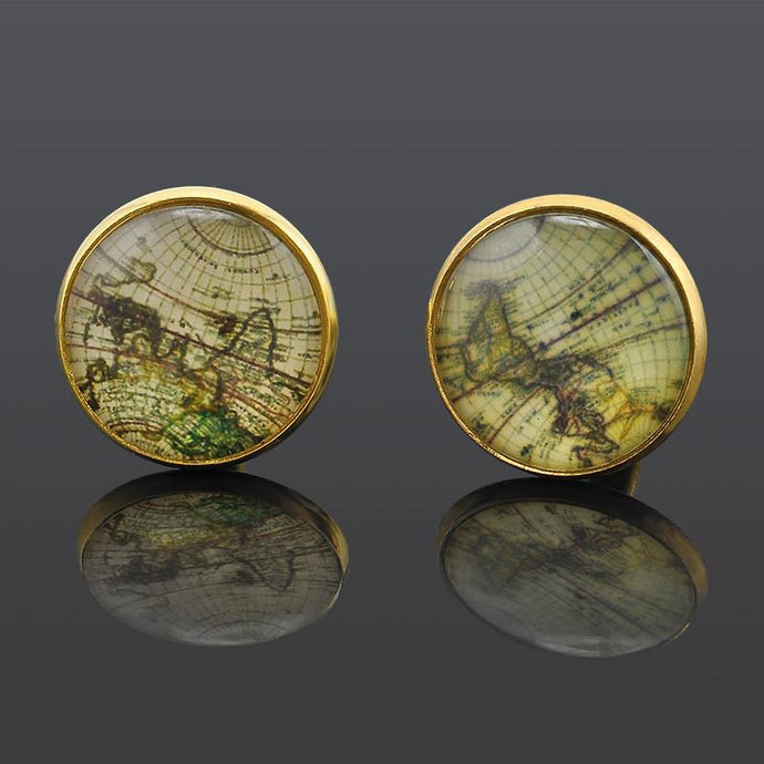 Antique World Map Cuff Links - Go Steampunk