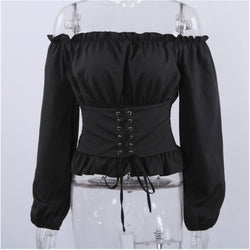 Long Sleeve Off Shoulder Lace up Corset Mimic Shirt