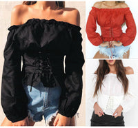 Long Sleeve Off Shoulder Lace up Corset Mimic Shirt - Go Steampunk