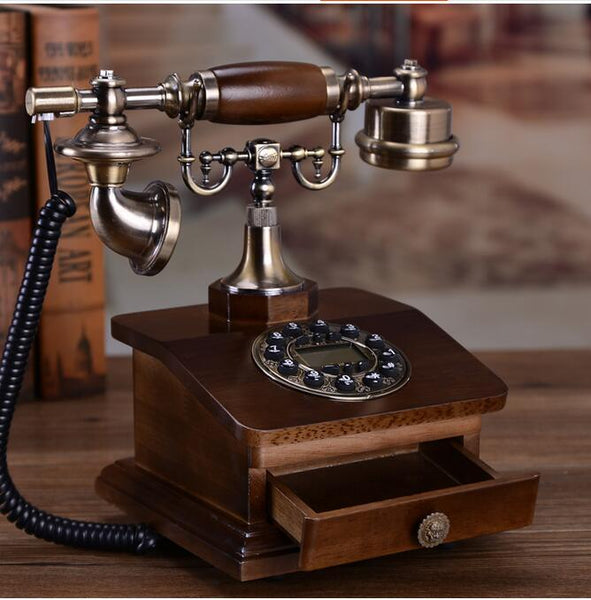Vintage Wood Landline Telephone With RD Box Drawer - Go Steampunk