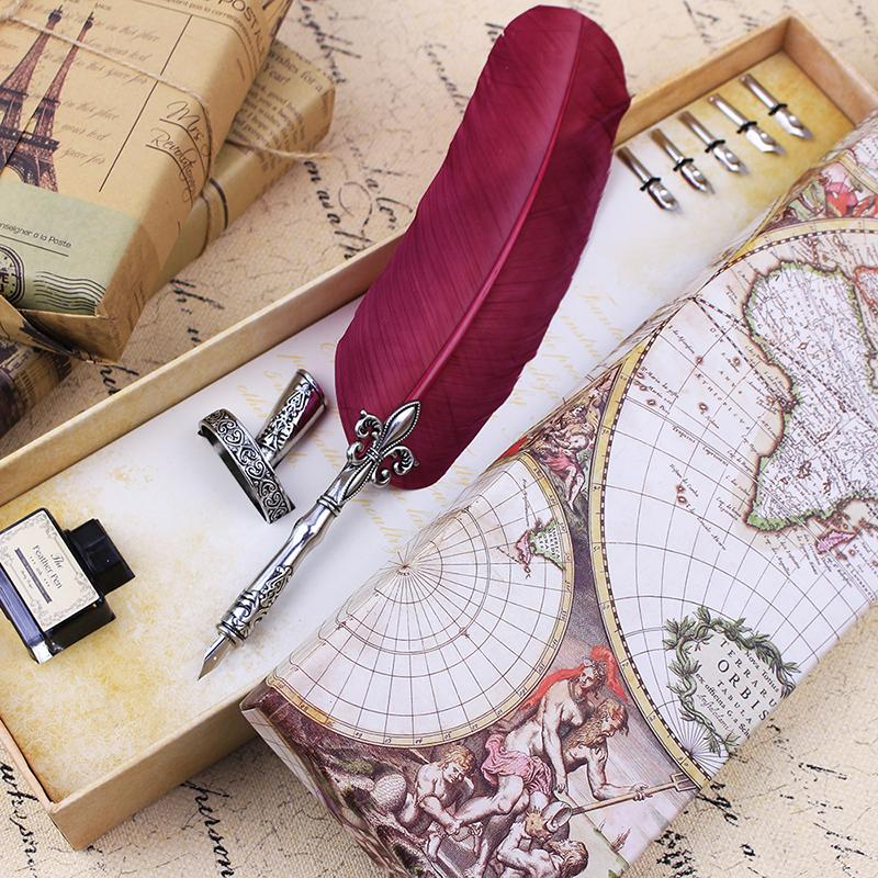 Quill Feather Fountain Dip Pen Set In Global Map Box – Go ...