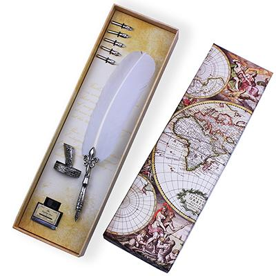 Quill Feather Fountain Dip Pen Set In Global Map Box White - Go Steampunk
