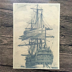 Ancient Sailboat Kraft Paper Wall Art Picture