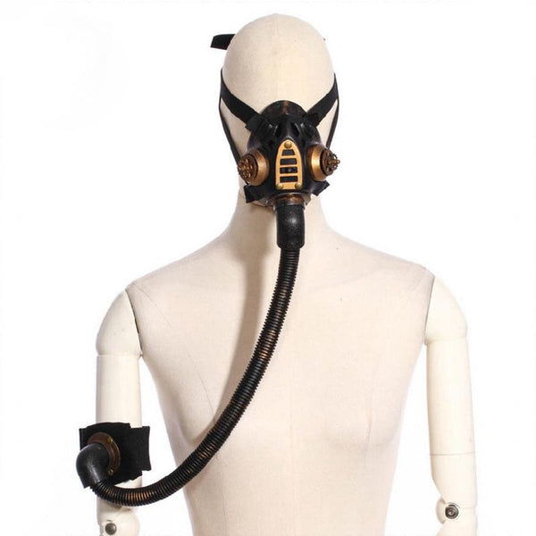 Gold Metallic Resin Gas Mask Black - Go Steampunk