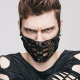 Leather Half Face Mask with Metal Gears - Go Steampunk