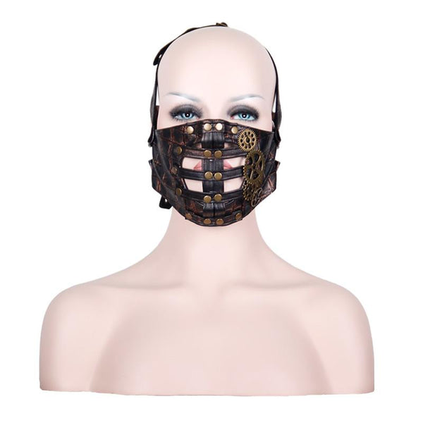 Leather Half Face Mask with Metal Gears Black with bronze - Go Steampunk