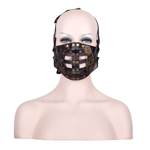Leather Half Face Mask with Metal Gears