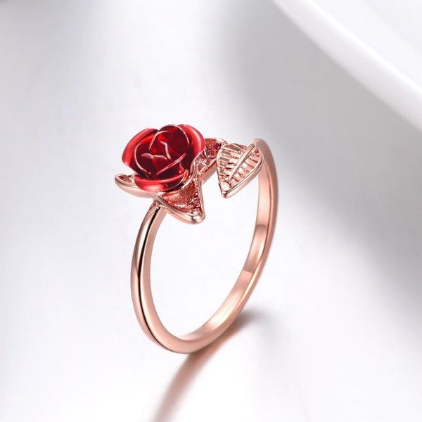 Red Rose Adjustable Ring