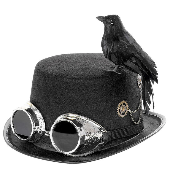 Nevermore Steampunk Raven Top Hat (Black) - Go Steampunk