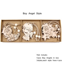 12PCS/Box Vintage Hollow Wood Christmas Ornaments Boy Angle Style - Go Steampunk