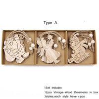 12PCS/Box Vintage Hollow Wood Christmas Ornaments Type A - Go Steampunk