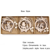 12PCS/Box Vintage Hollow Wood Christmas Ornaments Bow Style - Go Steampunk