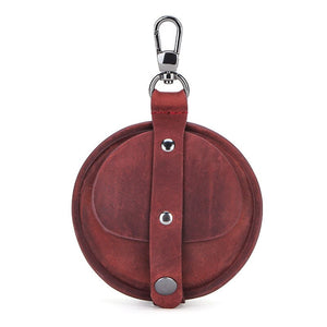 Genuine Leather Round Pocket Case Burgundy - Go Steampunk