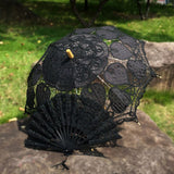 Western Style Beautiful Double-Layer Lace Parasol A0129 black - Go Steampunk
