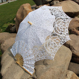 Western Style Beautiful Double-Layer Lace Parasol A0104 White - Go Steampunk