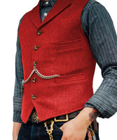 Tweed Slim Fit Gentleman's Waistcoat Red / 4XL - Go Steampunk