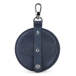 Genuine Leather Round Pocket Case Blue - Go Steampunk