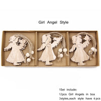 12PCS/Box Vintage Hollow Wood Christmas Ornaments Girl Angle Style - Go Steampunk